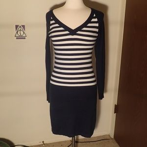 Derek Heart Navy Blue & White Striped Dress